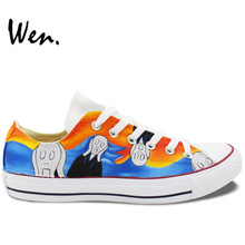Wen Design Custom Hand Painted Shoes Scream for Men Women's Gifts Low Top Canvas Sneakers