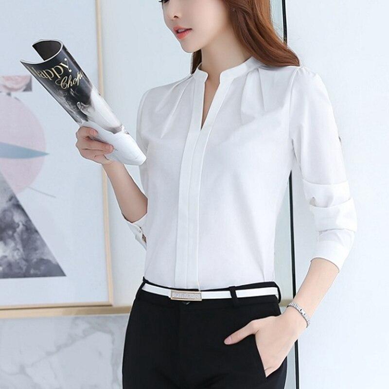 Larga Oficina Blusa Femenina Rosado Moda Blanca De V Verano púrpura Camisa Primavera Cuello Manga blanco Casual 2018 Mujeres Gasa SZ8qwpp