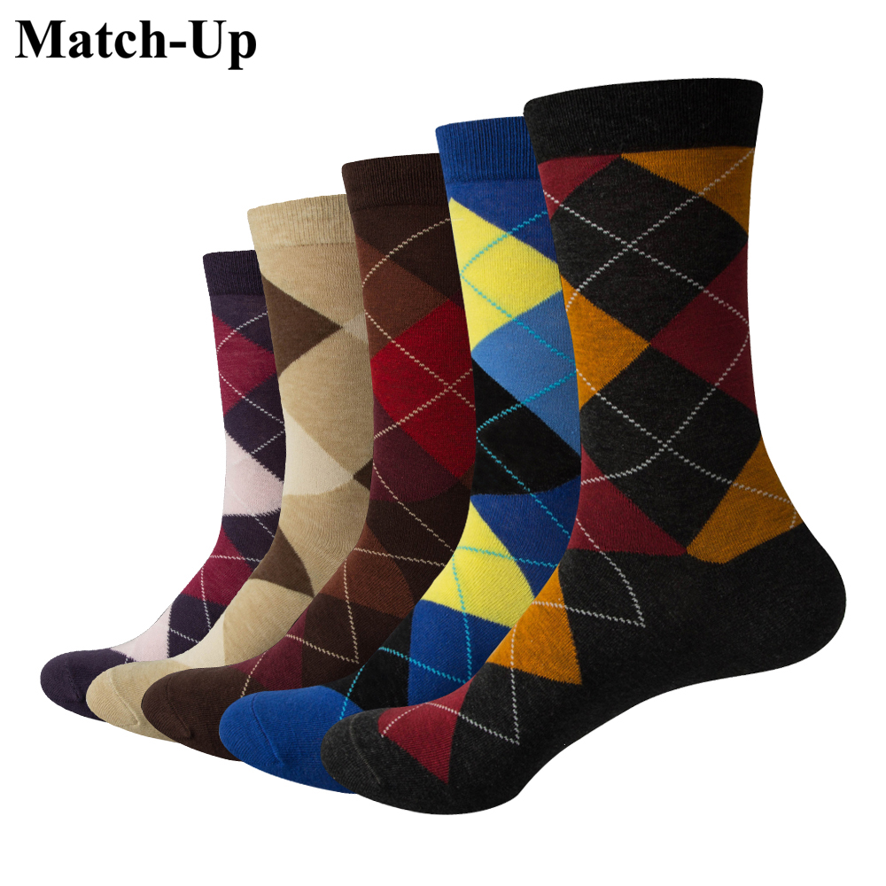 Match-Up Men Colorful Argyle Cotton Crew   socks   Brand Business   Socks   (5 pairs / lot )