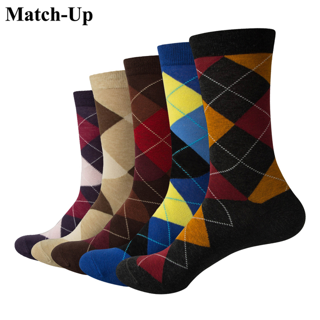 Match Up Men Colorful Argyle  Cotton Crew socks  Brand Business Socks  (5 pairs / lot )