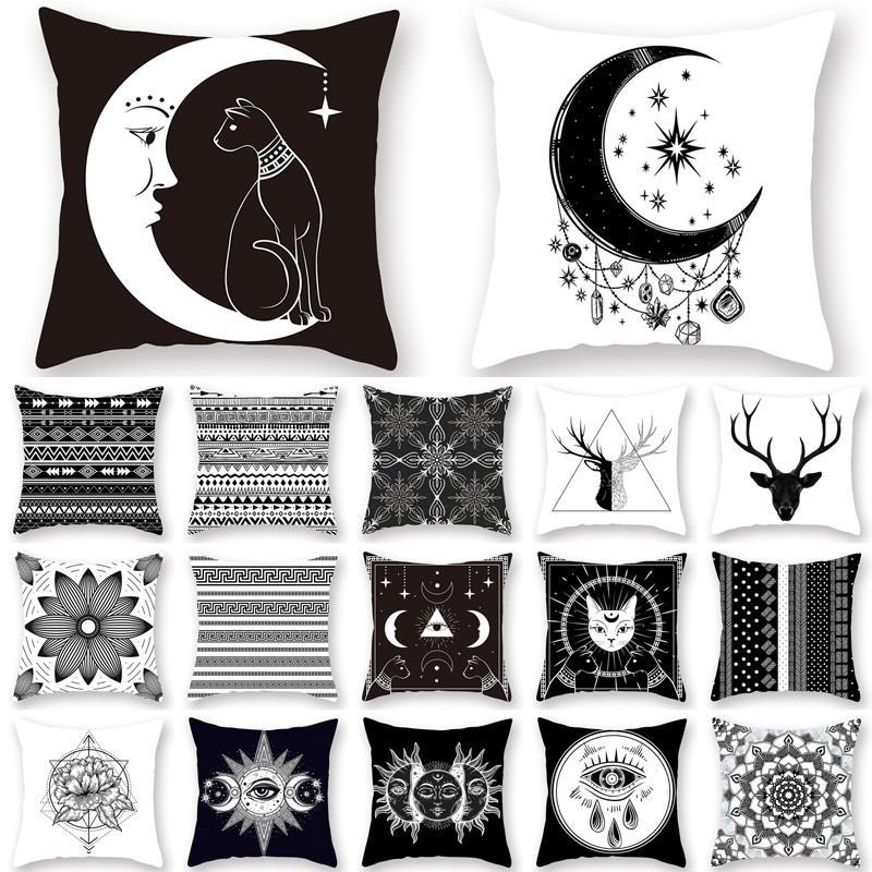1Pcs 45*45cm Black And White Mandala Cushion Cover Polyester Throw Pillow Cases Housse De Coussin Decorative Pillow Sofa 40819
