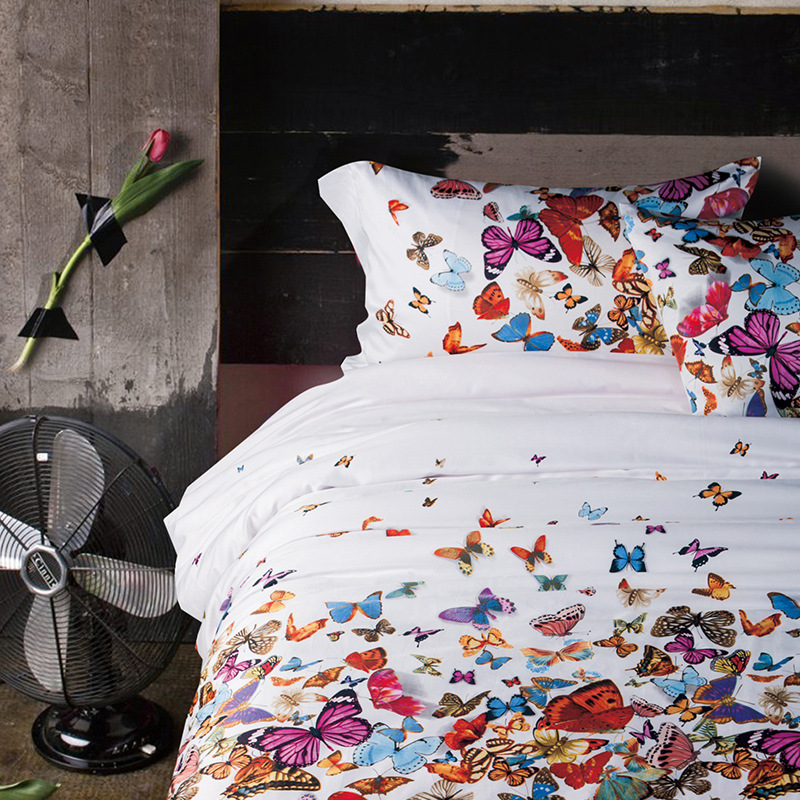 Butterfly bedding set Egypt cotton bedding high quality home textile Winter flat sheet peacock duvet cover shell bedclothes 4pcs