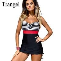 Trangel Vintage Retro Swimsuit Women Plus Size Dress Swimwear One Piece Swim Suit Sexy Bandeau Monokini