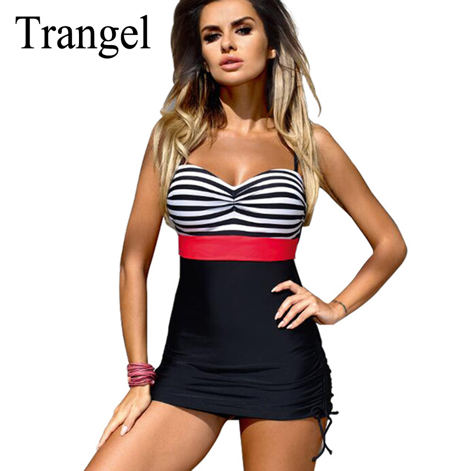 Trangel vintage swimsuits bikini large size women dress swimwear one piece swim suits sexy stripe bandeau monokini bathing suits one piece swimsuits trikinis high cut thong swimsuit sexy strappy monokini swim suits high quality denim women s sports swimwear