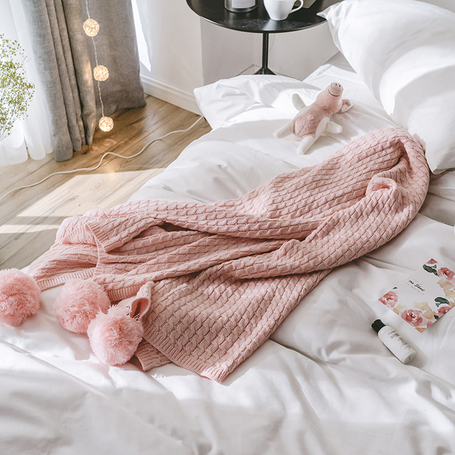 iDouillet Soft Chic Lightweight Cotton Pompom Chunky Cable Knit Throw  Blanket for Bed Sofa Couch 130x170cm 90bbcf956