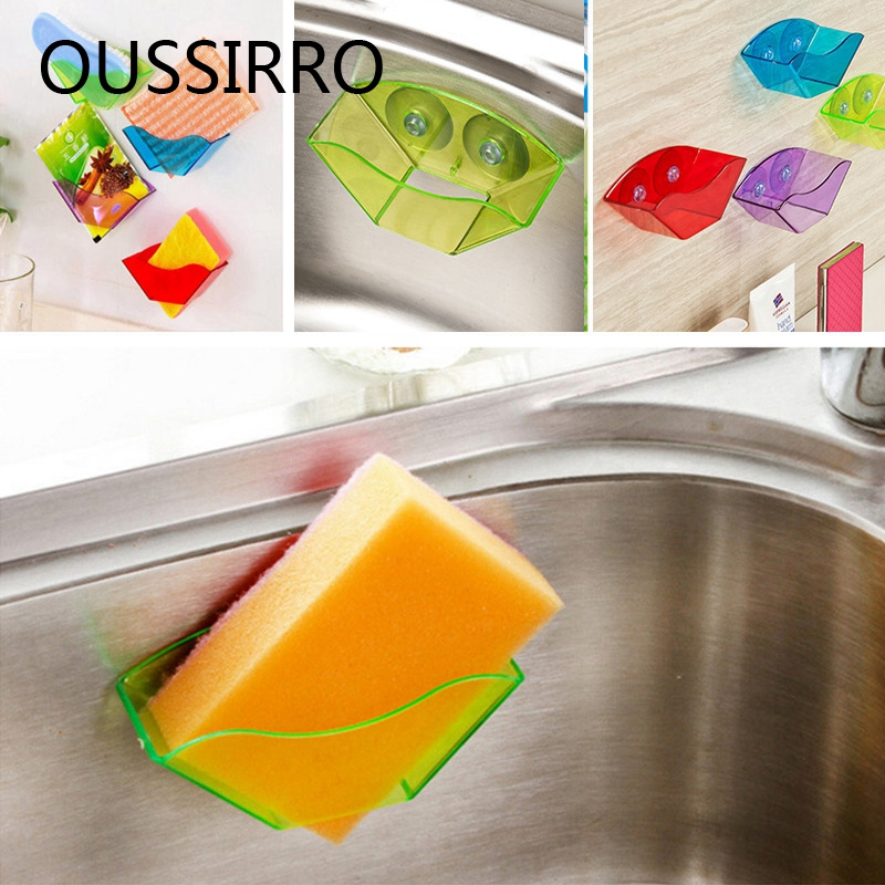 1Piece Hot Sale Badrumshylla Super Suction Family Sucker Hooks För Sponge Kitchen Tillbehör Hem Förvaring Hållare & Racks