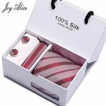 New Red striped gravata  Men Tie Set 2018 Necktie Wedding Ties For Silk Handkerchief Cufflinks Sets With Gift Box