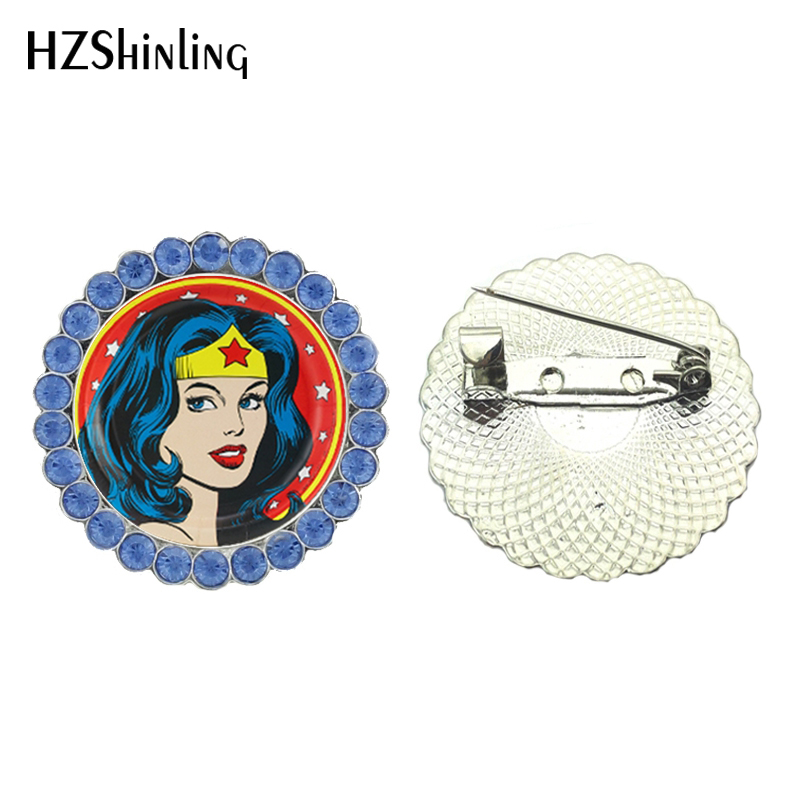 2017 New Wonder Woman Collar Brooch Metal Brooches Heroine Brooch Pins Glass Round Breastpin Feminist Jewelry Gifts Female