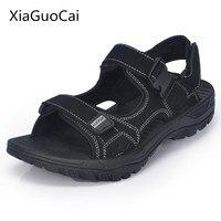 Xiaguocai 2017 New Arrival Genuine Leather Men Sandals Handmade Solid Male Sandals Plus Size 46 47