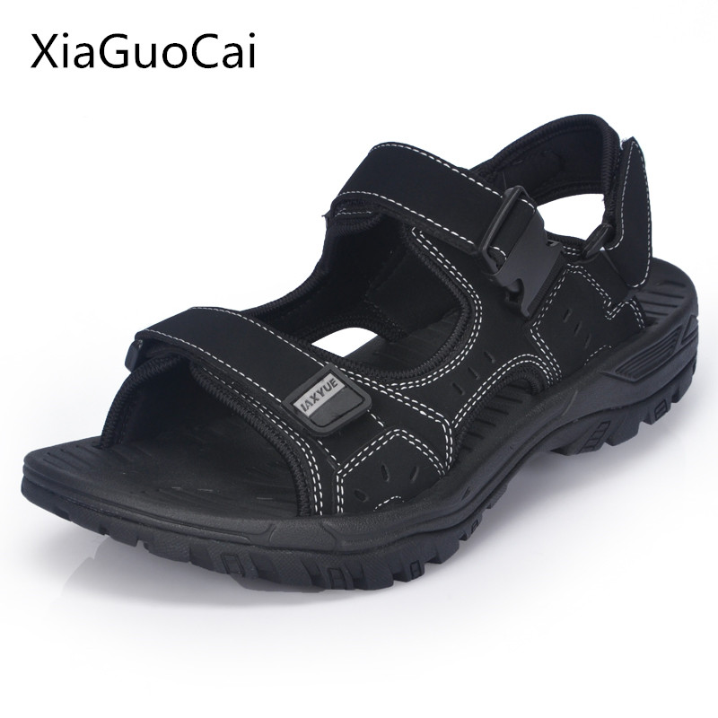 Xiaguocai 2017 New Arrival Genuine Leather Men Sandals Handmade Solid Male Sandals Plus Size 46 47