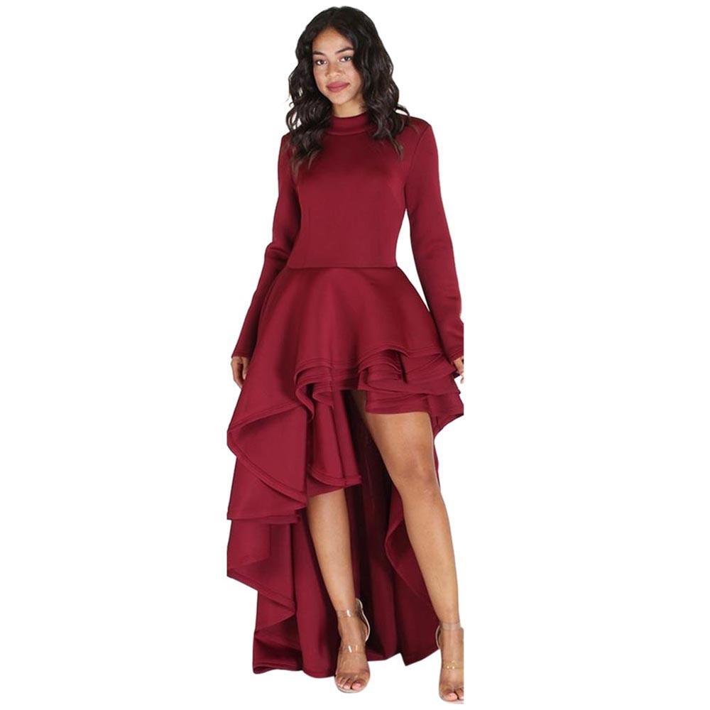 US $19.92 28% OFF|Spring Summer Bodycon Party Dress Plus Size 2XL&3XL High  Low Peplum Long Sleeve Club Dress Lotus Leaf Hem Turtleneck Dresses-in ...
