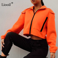 Liooil Winter Hooded Jacket Women 2019 Sexy Club Coat Long Sleeve Zip Up Warm Casual Sport Jacket Party Womens Jackets And Coats
