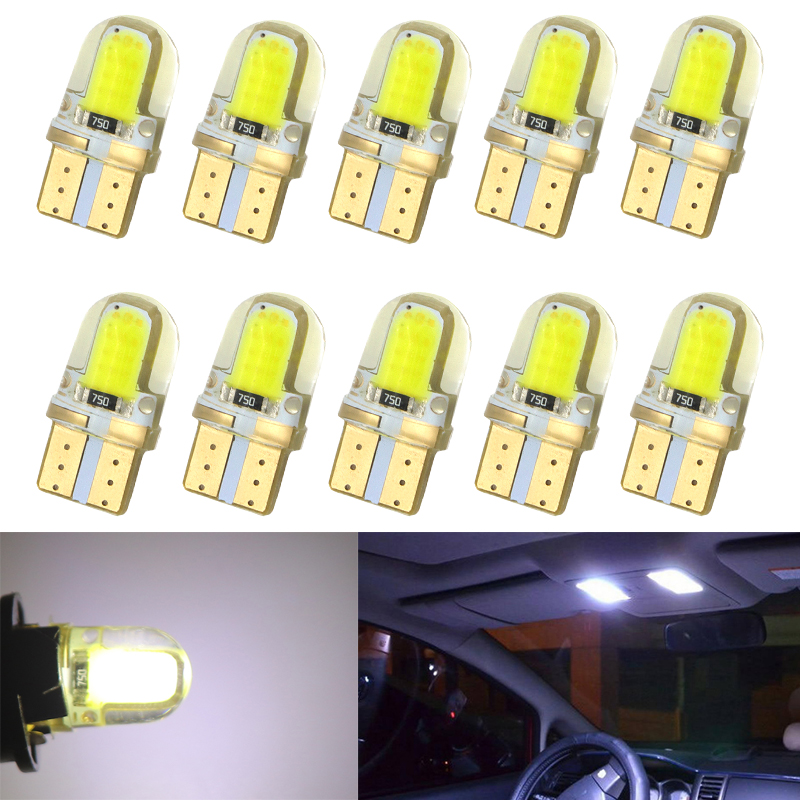 10Pcs Auto T10 Cold White 194 W5W 168 COB 8-SMD Silica Car LED Super Bright Turn Side License Plate Light Lamp Bulb DC12V 4pcs super bright t10 w5w 194 168 2825 6 smd 3030 white led canbus error free bulbs for car license plate lights white 12v