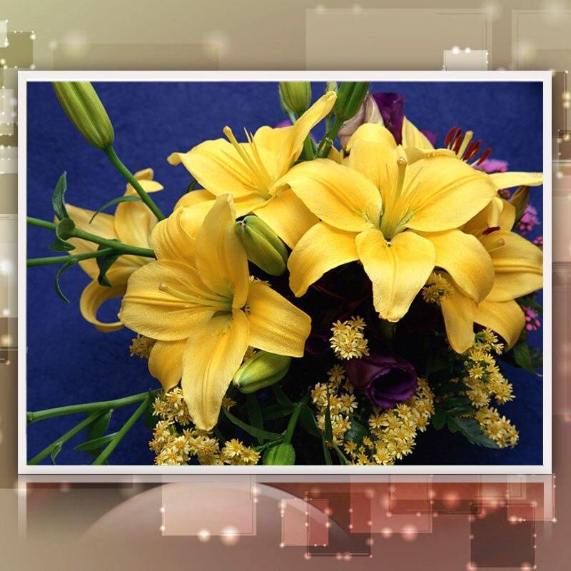 ᗛYellow lily flower Mosaics 5D Full Diamond Painting Cross Stitch ...