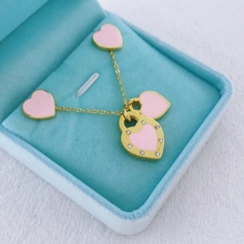 New Arrival Love Double Heart Enamel Ladie FOREVER LOVE Stainless Steel Necklace Earings Set Jewelry Wholesale Gift For Women