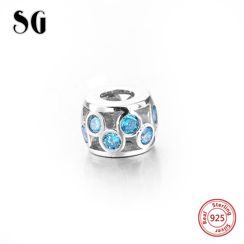 Fit Authentic pandora Bracelet Silver 925 Original Interval Blue Zircon pandora Charms Antique Beads Pendant Jewelry Gifts