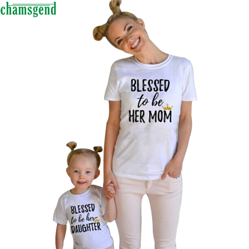 Mommy and Me Kids Clothes Baby Girls Short Sleeve Letter Print T shirt Outfits MAR5 P30  ...