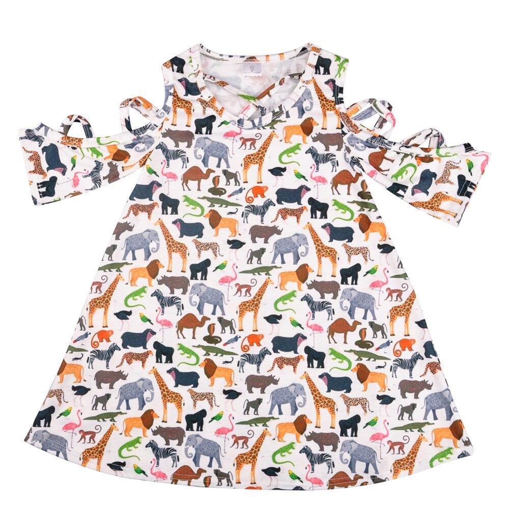 Girl Dress Summer Dresses Animal Pattern Princess Dress Children Popular Remake Clothing Kids Clothes LYQ805-166
