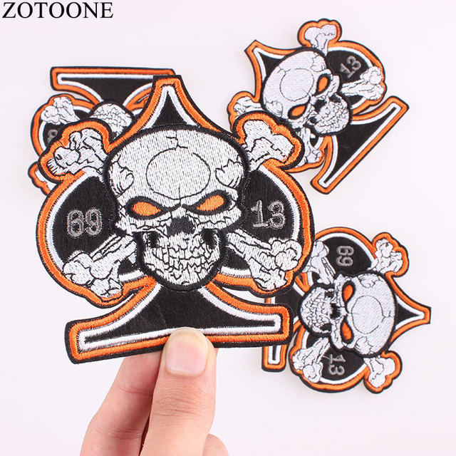Zotoone punker skull embroidered patches for clothes stickers diy punk iron on biker patches rockabilly badges