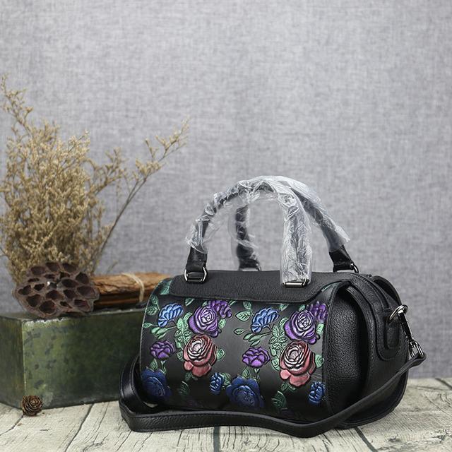 2017 NEW Brand Design Luxury Vintage Hand painted Genuine Cow Leather Girls Ladies Handbag Shoulder Crossbody Bags For Women