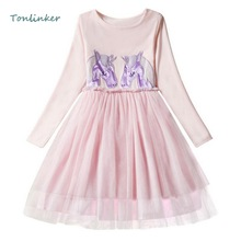 Girls Princess Unicorn Pattern Costume Tulle Pure Color Dress Autumn Winter Long Sleeve Birthday Party Christmas