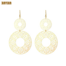 Exaggerated Gold Round Drop Earrings for Women Vintage Color Big Circles Dangle Earring Fashion Jewelry 2019 Party Prom Gift 2019 new jewelry fashion wolf cute cat design party hook earring colorful round drop earrings accessories for women pretty gift