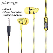 Pluseye Hot selling gift Crack outdoor In-Ear Earbud Wired Stereo Cloth Cord Earphone Headset for iPhone Samsung