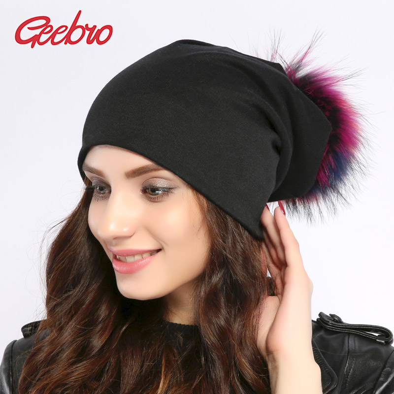 Geebro Women's Beanie Hat Autumn Casual Colorful Pom Pom Slouchy Beanies Girls Fox Raccoon Fur Pompon Female Pompom Skullies Cap