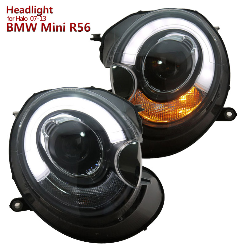 for BMW MINI Cooper Clubman R55 R56 R57 LED Projector Headlights Assembly fit 2007-2013 year car Halo models набор приспособлений для обслуживания грм двигателя bmw n12 mini cooper jonnesway al010079