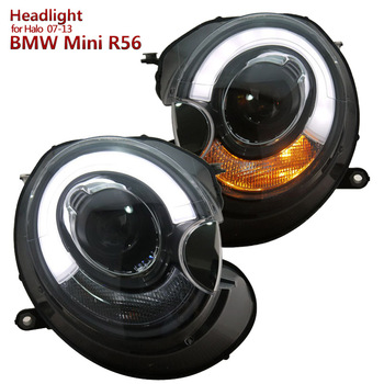 for BMW MINI Cooper Clubman R55 R56 R57 LED Projector Headlights Assembly fit 2007-2013 year car Halo models