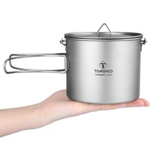 #TOMSHOO 1100ml Titanium Pot Camping Pot Titanium Tableware Ultralight Portable Pot with Lid Foldable Handle for Outdoor Cooking