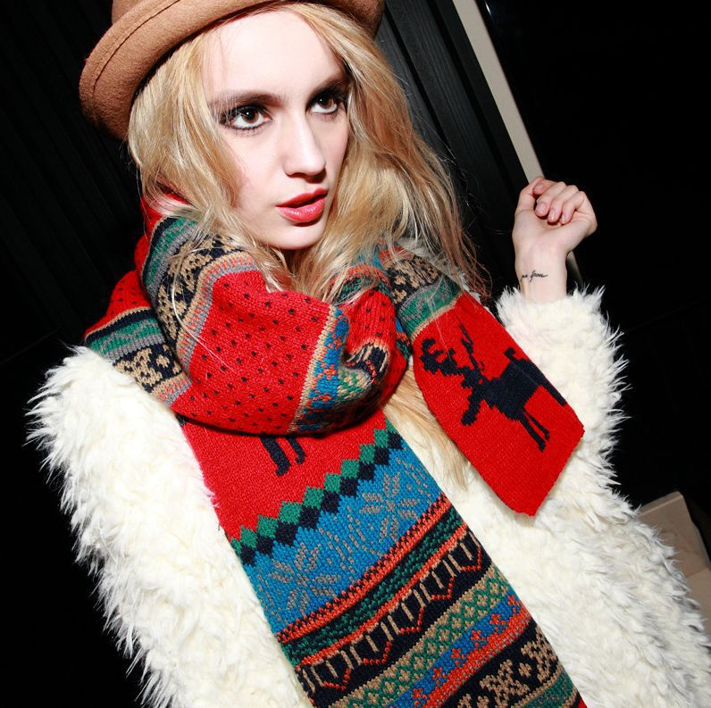BK 200*33cm Thickening Winter Scarf Cashmere Blending Deer Design Women Scarf Fashion Couples Christmas Scarf