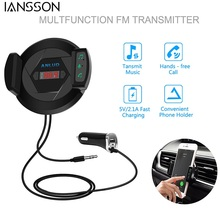 2017 New 3 in 1 Bluetooth FM Transmitter with Car Air Vent Mount Phone Holder USB Charger and AUX Input Handsfree Calls Music Pl