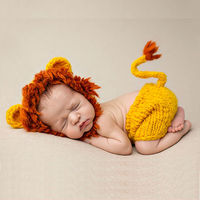 2017 New Fotografia Cute Lion Baby Hats Newborn Photography Props Soft Hand-knit Animal Recien Nacido Baby Photography Props