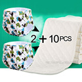 2+10 pcs Baby newborn Printing diapers Reusable nappies Training pant Adjustable size Children Washable diapers inserts 3 Layers