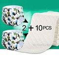 2 + 10 unids bebé recién nacido de impresión de pañales reutilizables pañales de entrenamiento de tamaño ajustable niños lavable pañales insertos 3 capas