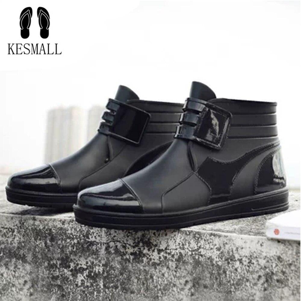Rouroliu Arbeits Schuhe Für Männer Herbst Winter Schwarz Ankle Rain Wasserdicht Nicht-slip Sicherheit Schuhe Mann Gummistiefel Rt260 Home
