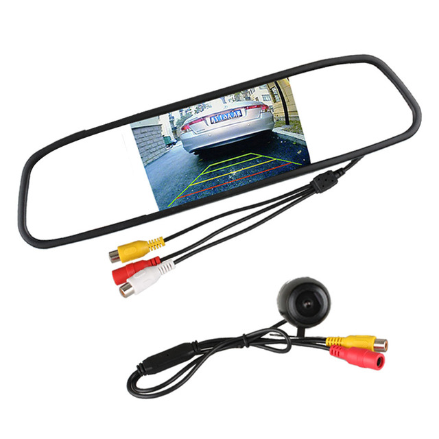 """2 in 1 Auto Parking Assistance System 4.3"""" Digital TFT LCD Car Mirror Monitor 120 Degrees Mini Car Rear View Camera with Monitor"""