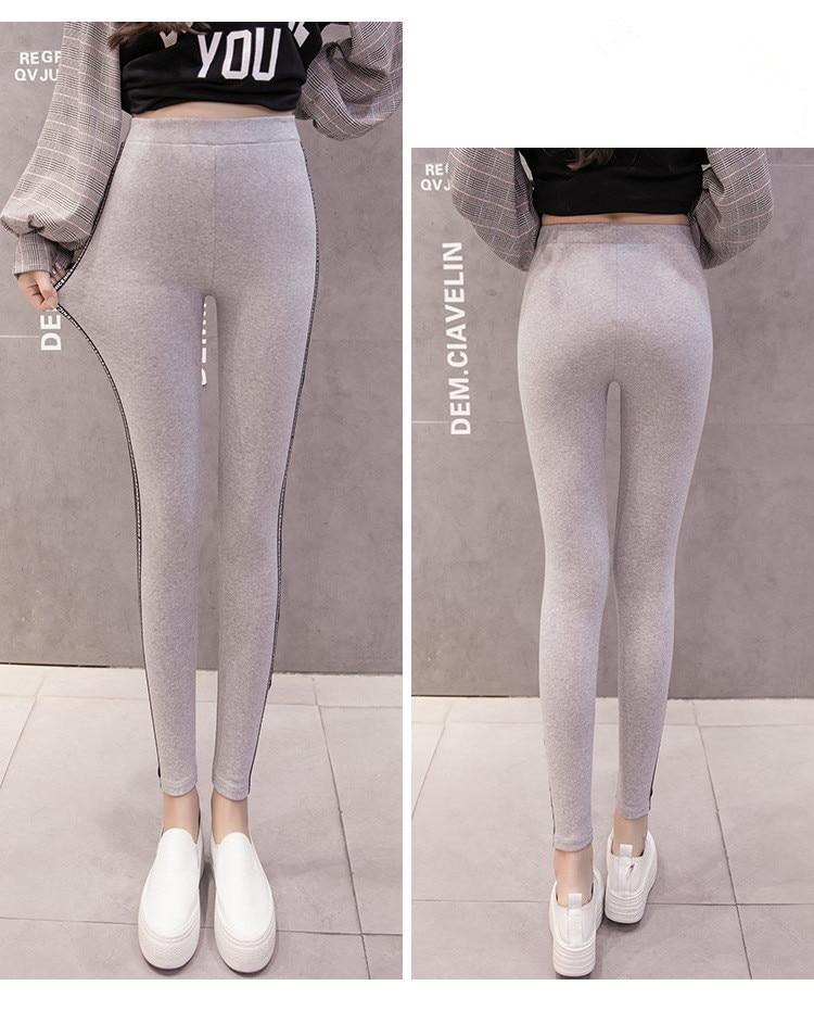 High Quality Cotton Leggings Side stripes Women Casual Legging Pant Plus Size 5XL High Waist Fitness Leggings Plump Female 41