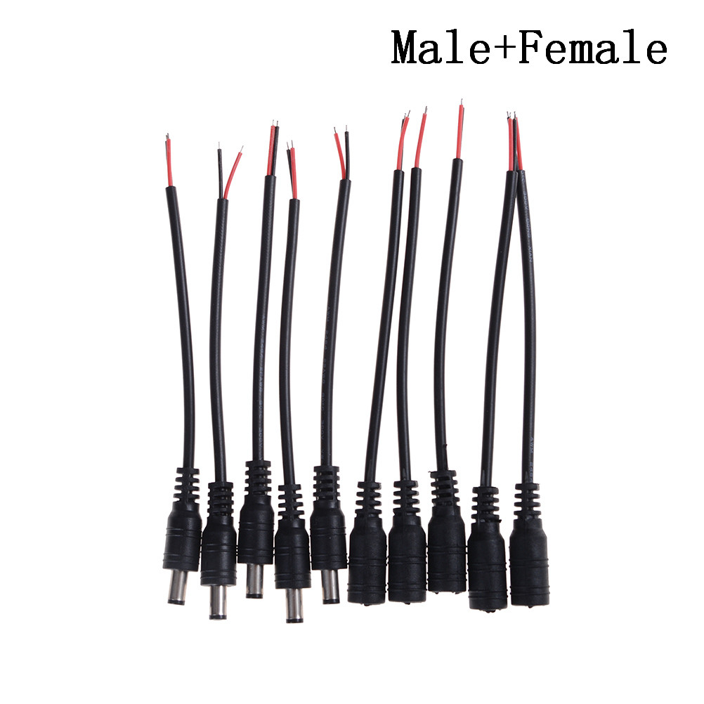 5/10pcs 12V DC Power Plug Male And Female DC Connector Cable 5.5X2.1mm With Cord Adapter Cable For Led Strip Pigtail Plug Wire