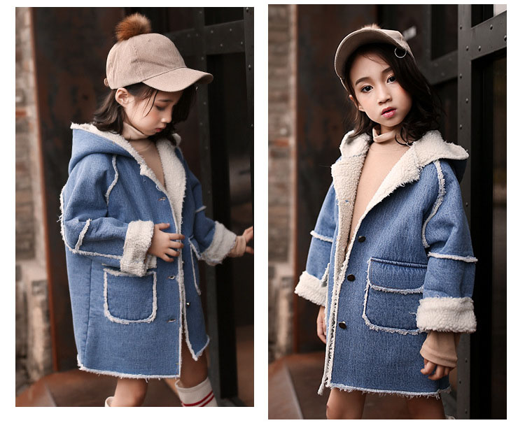 long thick denim trench coats for teenage girls long fleece hooded jeans jackets kids tops clothing children winter outerwears (6)