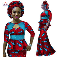 2017 Autumn Women Dress African Dashiki Print Half Sleeve and Maxi Skirt With Free Headwear Plus Size 6XL BintaRealWax WY2343