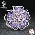 925 Sterling Silver Sparkling Prímula Rosa & Roxo CZ Beads Fit Pandora Original Charm Bracelet Encantos para Fazer Jóias S024