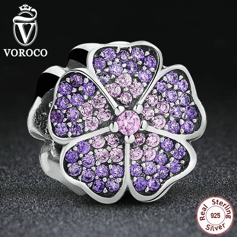 925 Sterling Silver Sparkling Primrose Pink Purple CZ Charms Fit Original Pandora Bracelet Charms for Jewelry