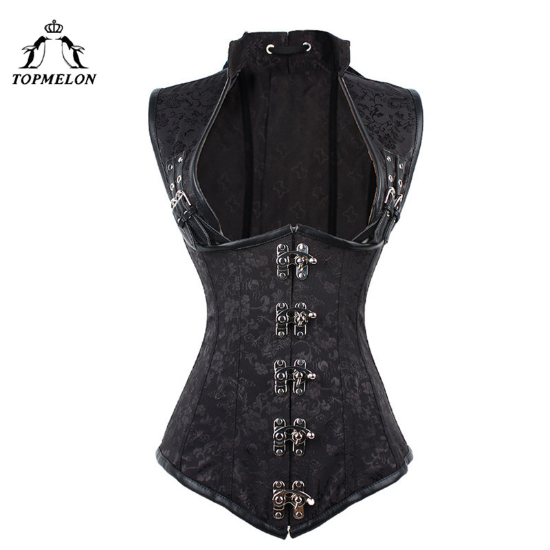 TOPMELON Corselet   Corset   Steampunk   Bustier   Gothic   Corset   Women Hollow Out Retro Leather Floral Buckles   Corset   Tops 6XL