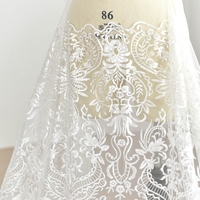 European Style Sequin Embroidery Mesh Lace Fabric Wedding Handmade DIY Material Dress Decoration Fabric