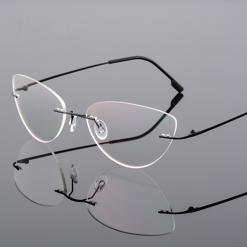 UVLAIK Women Retro Cat Eye Titanium Glasses Frames Super Elastic Frameless Metal Ultra Light Myopia Nearsighted Rimless Frame