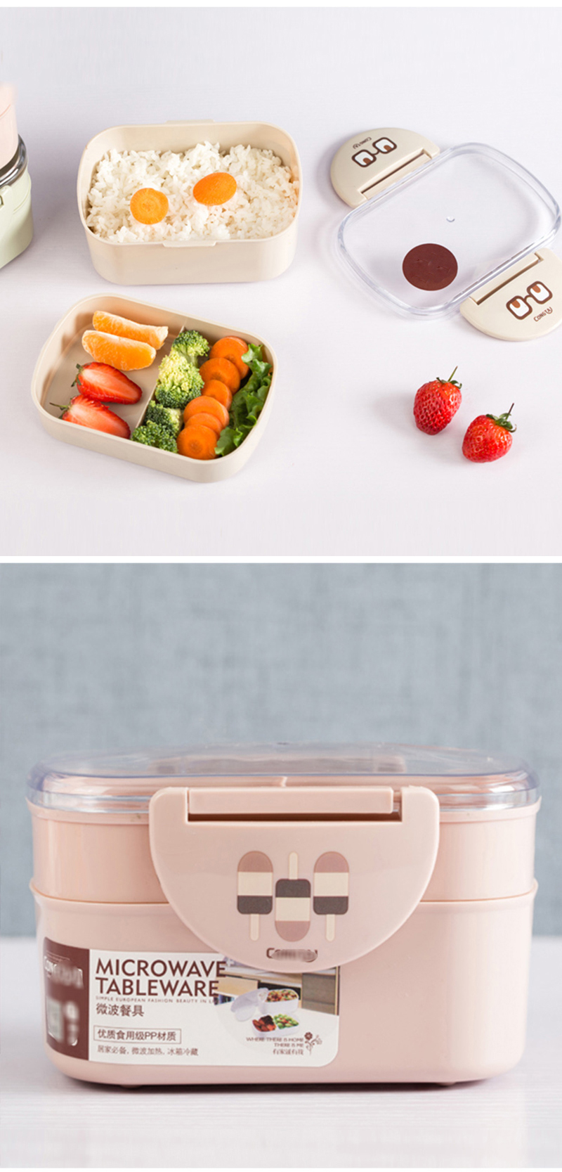 TUUTH Lunch Box Plastic Microwave Portable Double Layer Food Container Fruit Storage For Picnic School Office Workers C13