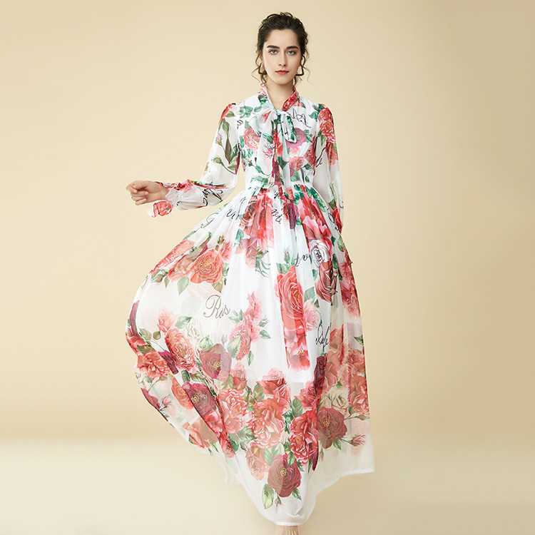 100% silk runway floral maxi dress new 2018 spring long sleeve print women A line dress high end vestidos