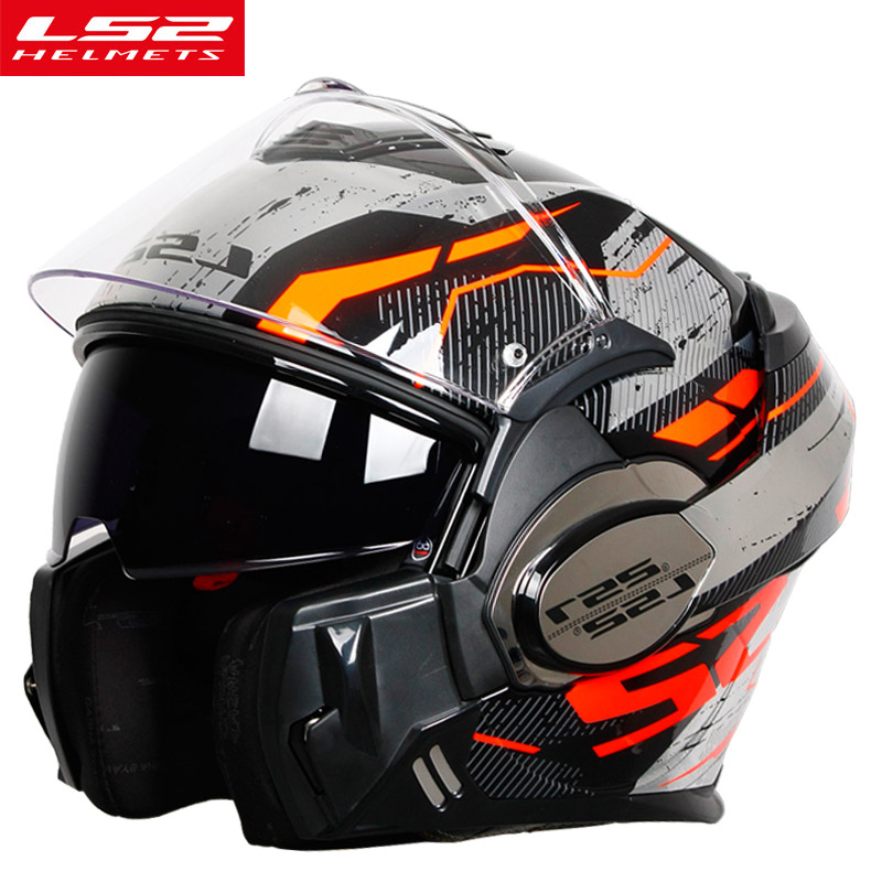 Nova Chegada LS2 FF399 capacete da motocicleta Homem Mulheres rosto cheio capacete Cromado com anti-fog pinlock flip up LS2 capacetes de moto